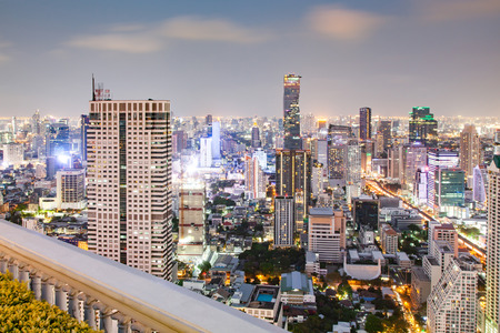 aerial view of Bangkok City skyscrapers with King Power MahaNakhon building Thailand
