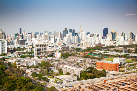 high buildings panorama downtown of Bangkok City and Lumpini park Thailand Reklamní fotografie - 121339497