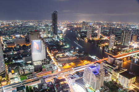 aerial night view of Bangkok City skyscrapers Thailand Reklamní fotografie