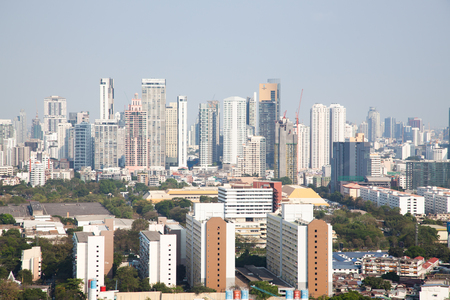 high buildings panorama downtown of Bangkok City Thailand Reklamní fotografie - 121339529