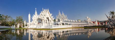 wat Rong Khun The famous White Temple in Chiang Rai, Thailand Stock Photo