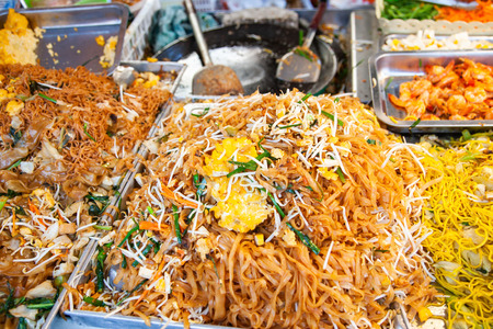 delicious fresh street food in Thailand - fried noodles