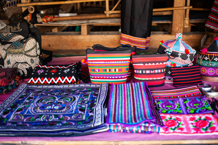 beautiful handmade fabrics of hill tribe people of Thailand