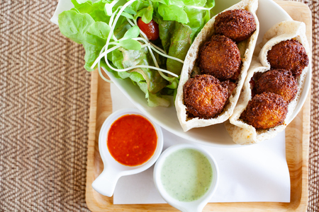 healthy dish of falafel with salad Stock Photo