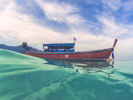 long tail boat in Andaman sea -Thailand holiday concept