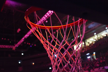 basketball hoop in red neon lights in sports arena during game - competition Banco de Imagens - 121281917