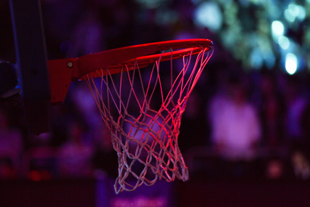 basketball hoop in red neon lights  game day