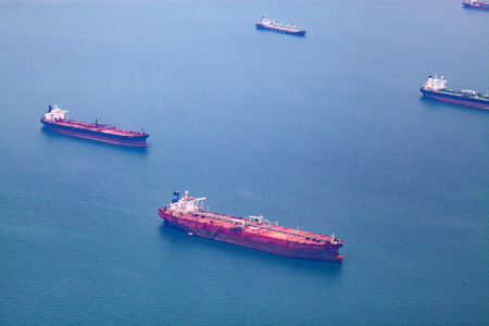 aerial view of cargo ships
