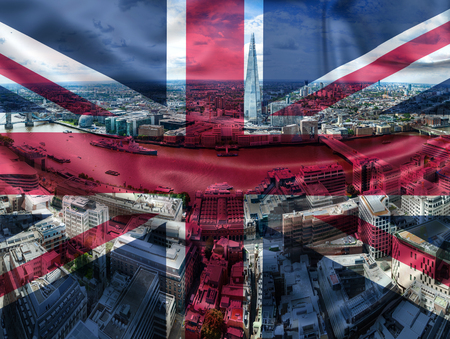 brexit concept - double exposure of UK landmarks and flag Reklamní fotografie - 123763768