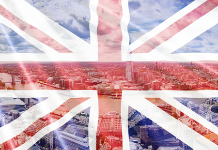 brexit concept - double exposure of UK landmarks and flag