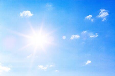 clear blue sky and bright sun - copyspace