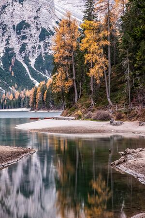 lago di Braies in Dolomites mountains, Sudtirol, Italy