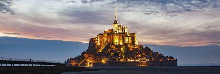 tidelands with Mont Saint-Michel, English Channel, Way of St. James, Route of Santiago de Compostela, Basse-Normandie Reklamní fotografie