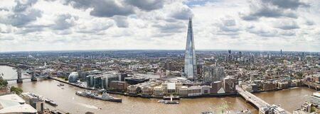 aerial view of South London with London Bridge Shard skyscraper and River Thames
