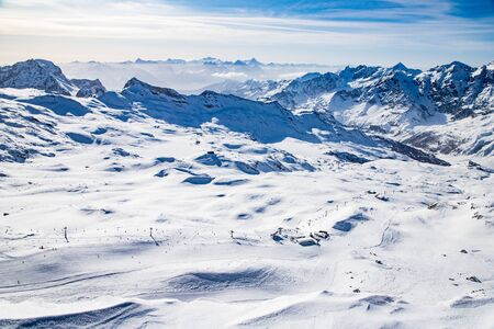 aerial view of ski slopes in the Swiss Alps