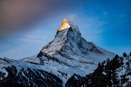 sunrise over Matterhorn peak Swiss Alps