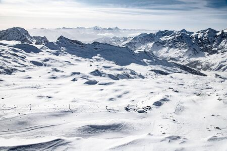 aerial view of ski slopes in the Swiss Alps Stock Photo