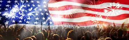 crowd celebrating Independence Day. United States of America USA flag with fireworks background for 4th of July Banco de Imagens