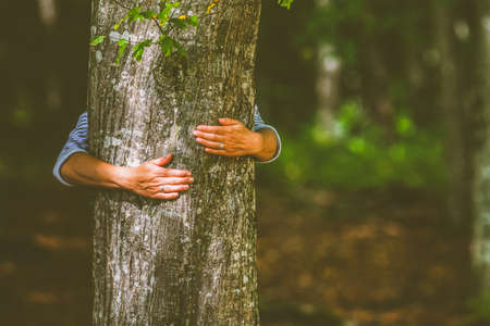 woman hand embracing a tree in the forest - nature loving, fight global warming