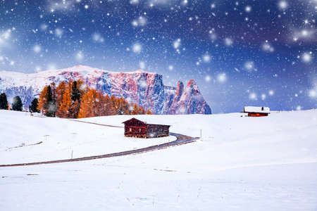 amazing winter landscape with snow at sunrise in Alpe di Siusi. Dolomites Italy - winter holidays destination