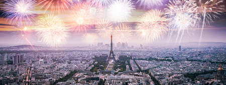 fireworks over Paris with iconic Eiffel tower