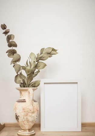 white portrait frame mockups, Scandinavian interior neutral color palette. Stock Photo