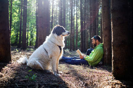 man with dog reading a book in forest