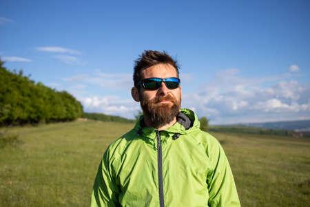 man portrait in summer field