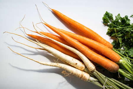 bunch of fresh carrots and parsley