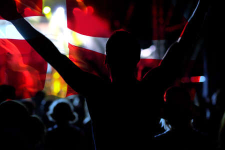 football fans supporting Denmark - crowd celebrating in stadium with raised hands against Danish flag