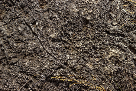 austere: The texture of rough natural stone, black color. Several dry blades of grass below. Natural design element. Stock Photo