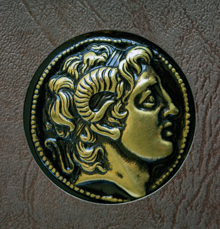 3rd ancient: A copy of the ancient Greek coin, Alexander of Macedon, 3rd century BC. Stock Photo