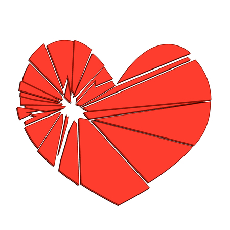 Broken red heart on a white background. Concept - divorce, separation, cheating. Illustration. Vector.