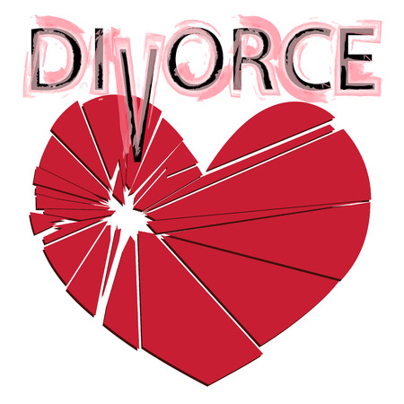 Broken red heart on a white background. Concept - divorce, separation, cheating. Vector illustration.