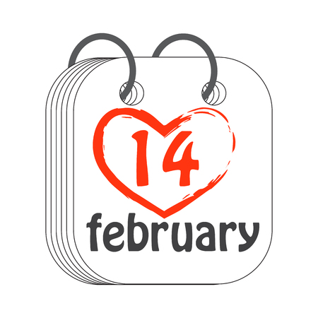 14 February. Calendar icon. Valentines Day. Flat style. Painted red heart. Date, day of month. Holidays in February. Vector illustration.