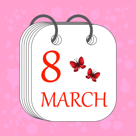 March 8. Calendar icon. International Womens day. Flat style. Butterfly. Date, day of month. Holidays in March. Vector illustration.