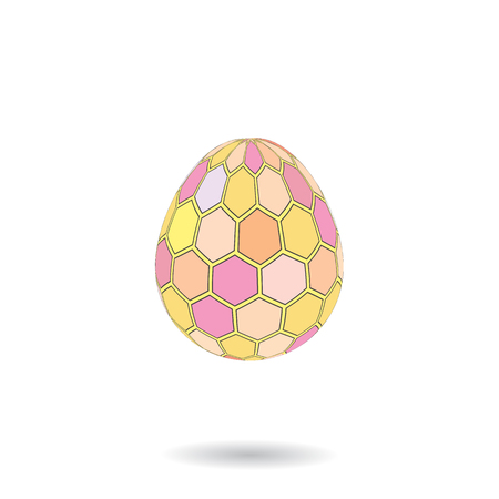 Colorful ornamented easter eggs.   Holiday background.  Warm colors. Illustration. Vector.