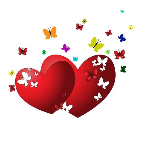 Romantische achtergrond van twee harten, vliegende vlinders en zittend op het hart. Wenskaart. Valentijnsdag concept. Witte achtergrond. Illustratie. Vector.