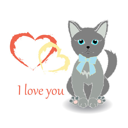 Cute kitten wishes happy Valentines Day. Text- I love you. Illustration. Vector. Illustration