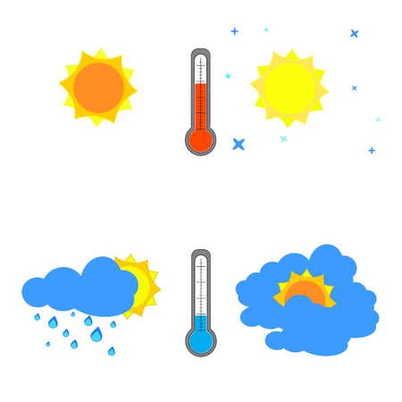 Set of weather icons on a white background Illustration Vector.