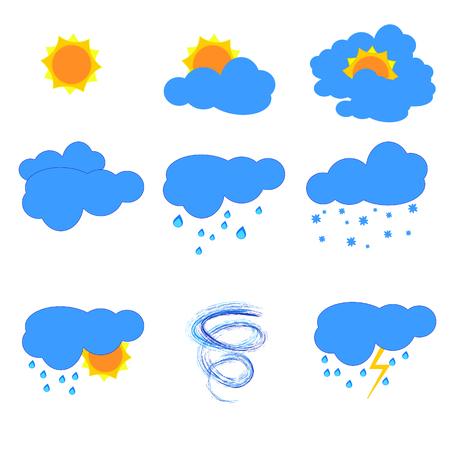 Set of weather icons on a white background. Illustration