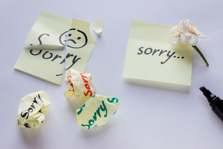 Handwritten note - Im Sorry. Small delicate white flowers of almonds. Stock Photo