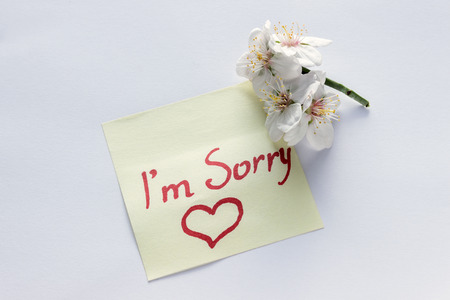 Handwritten note - Im Sorry. Small delicate white flowers of almonds.