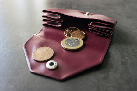 Coins in a small purse. Concept - costs, savings, shopping. Selective focus.