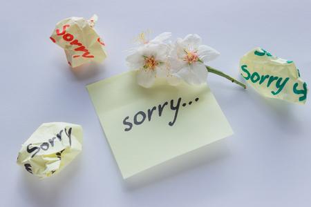 Handwritten note - I'm Sorry. Small delicate white flowers of almonds. Foto de archivo - 98672346