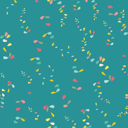 Algas tropicales de color turquesa, verde y mostaza sobre un fondo oscuro. Patrón sin costuras. Se puede utilizar para papelería, papel tapiz, álbumes de recortes y textiles, estampados de tela.