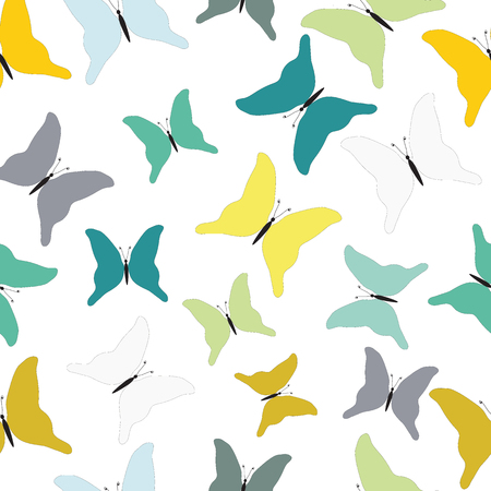 Turquoise, green and mustard-colored tropical butterflies. Seamless pattern. Can be used for stationery ,wallpaper , scrapbooking and textile, fabric prints.