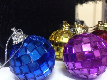 reflective: Christmas balls in blue gold and purple