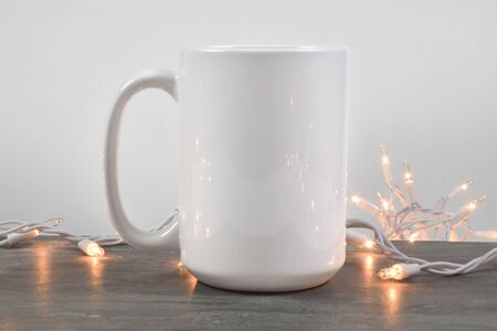15 oz Coffee Cup Mockup with Glowing White Lights