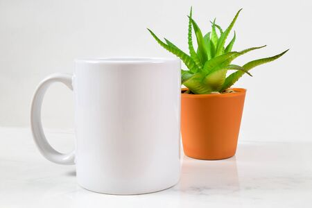 This coffee cup mockup features an 11 ounce blank white coffee mug chilling in front of a cherry aloe vera plant.